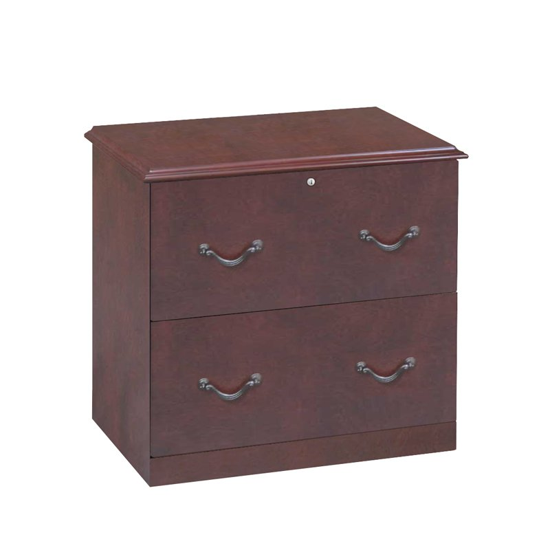 Cherry Brown Lateral 2 Drawer File Cabinet