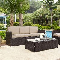 KO70048BR-SA Sand and Brown Wicker Furniture Sofa - Palm Harbor