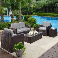KO70053BR-GY Gray and Brown 5 Piece Wicker Patio Furniture Set - Palm Harbor