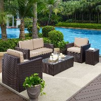 KO70053BR-SA Sand and Brown 5 Piece Wicker Furniture Set - Palm Harbor