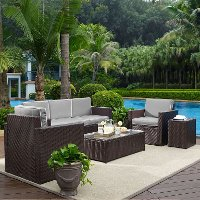 KO70054BR-GY Gray and Brown 5 Piece Wicker Patio Furniture Set - Palm Harbor