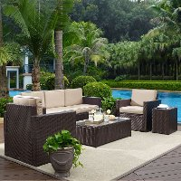 KO70054BR-SA Sand and Brown 5 Piece Wicker Furniture Set - Palm Harbor