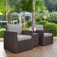 KO70055BR-GY Gray and Brown 3 Piece Wicker Patio Furniture Set - Palm Harbor