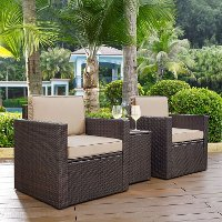 KO70055BR-SA Brown and Sand 3 Piece Wicker Furniture Set - Palm Harbor