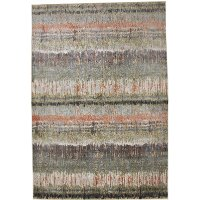 5 x 8 Medium Coral, Green, and Gray Area Rug - Sonoma