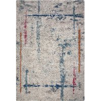 5 x 8 Medium Ivory, Teal, Pink, and Orange Area Rug - Granada
