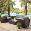 KO70057BR-GY Gray/Dark Brown 5 Piece Outdoor Wicker Set - Palm Harbor