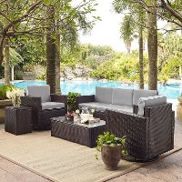 KO70057BR-GY Gray and Dark Brown 5 Piece Wicker Furniture Set - Palm Harbor