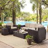 KO70057BR-SA Sand/Dark Brown 5 Piece Outdoor Wicker Set - Palm Harbor
