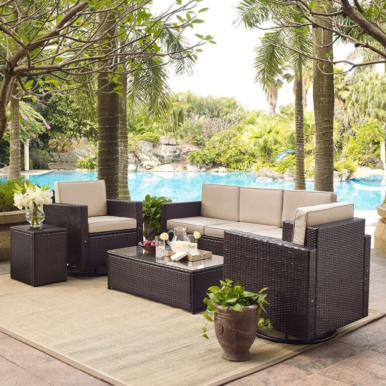 Sand And Dark Brown 5 Piece Outdoor Wicker Furniture Palm Harbor Rc Willey