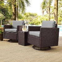 KO70058BR-GY Gray and Dark Brown 3 Piece Wicker Furniture Set - Palm Harbor