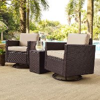 KO70058BR SA Sand And Brown 3 Piece Wicker Patio Furniture Set   Palm Harbor
