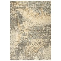 8 x 10 Large Gray, Beige, and Gold Area Rug - Gossamer