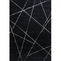 5 x 8 Medium Navy Blue & Ivory Shag Rug - Elements