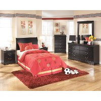 B128-63 Black Classic Twin Sleigh Headboard - Huey Vineyard