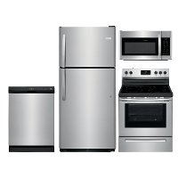 SS-FRG-4PC-21TOPMTN Frigidaire 4 Piece Electric Kitchen Appliance Package with 20 Cu. Ft. Refrigerator - Stainless Steel