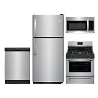 SS-FRG-4PC-21TOPMTN Frigidaire 4 Piece Gas Kitchen Appliance Package with 20 Cu. Ft. Refrigerator - Stainless Steel
