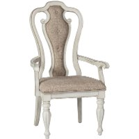 Antique White Upholstered Dining Arm Chair - Magnolia Manor