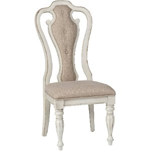 antique white upholstered dining chair magnolia manor collection