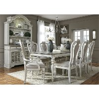 Antique White 5 Piece Dining Set with Upholstered Chairs - Magnolia Manor
