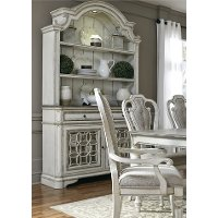 Distressed White Antique China Cabinet - Magnolia Manor