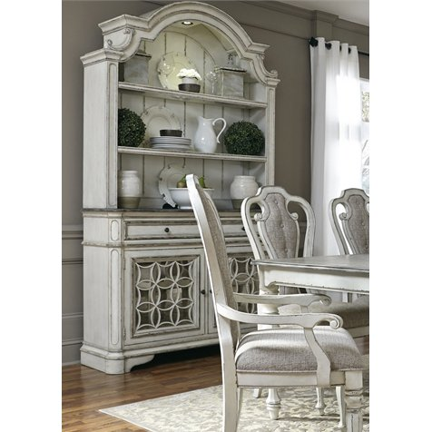 Distressed White Antique China Cabinet