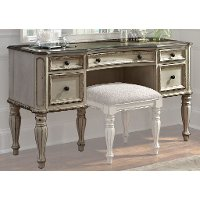 Antique White Traditional Vanity Desk - Magnolia Manor