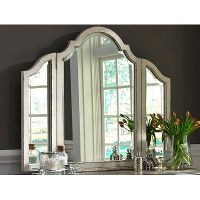 Antique White Traditional Vanity Mirror - Magnolia Manor