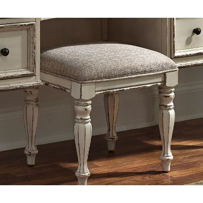 Antique White Traditional Vanity Stool - Magnolia Manor