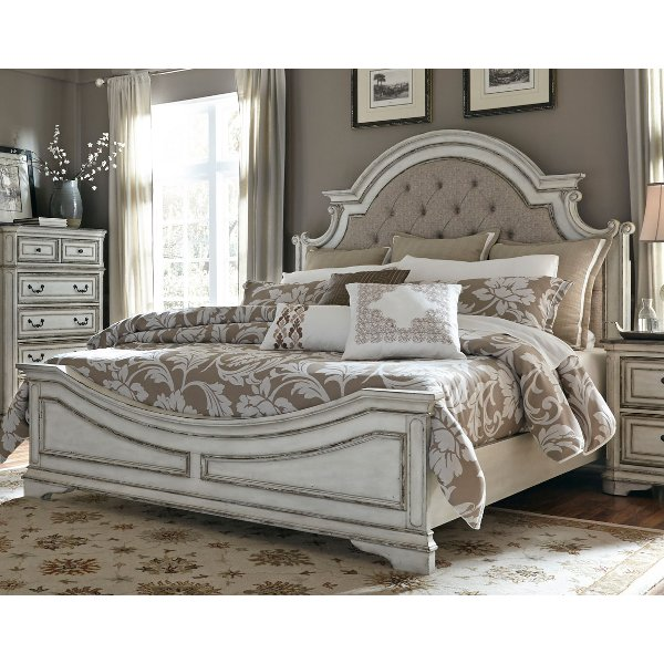 ... Antique White Traditional Upholstered King Size Bed   Magnolia Manor