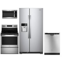 KIT Whirlpool 4 Piece Electric Kitchen Appliance Package with Side by Side Refrigerator - Stainless Steel