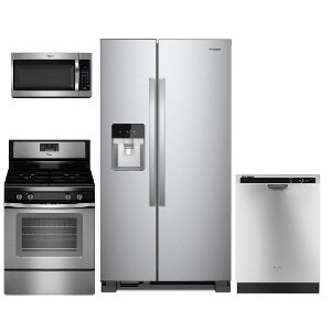 kit whirlpool 4 piece stainless steel kitchen appliance package with gas range