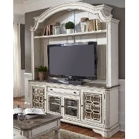 Distressed White 2 Piece Antique Entertainment Center - Magnolia Manor