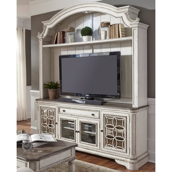 Distressed White 2 Piece Antique Entertainment Center Magnolia Manor
