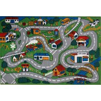 8 x 11 Large Country Streets Multi-Color Area Rug - Fun Time