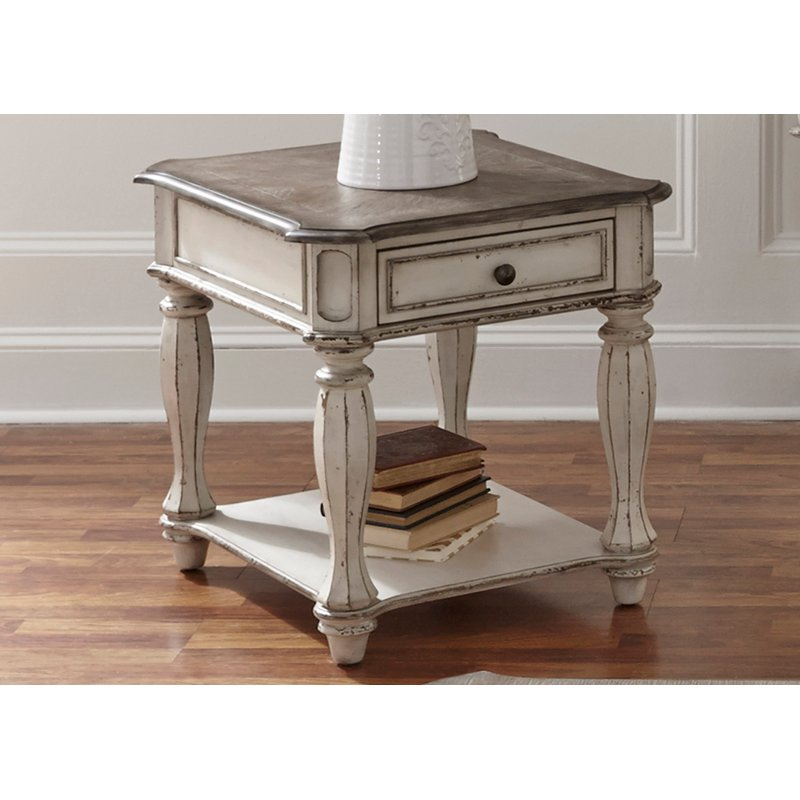 Antique White End Table - Magnolia Manor