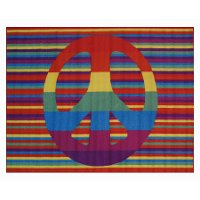 3 x 5 Small Groovy Peace Multi-Color Area Rug - Fun Time