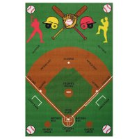 3 x 5 Small Baseball Field Multi-Color Area Rug - Fun Time