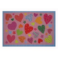 3 x 5 Small Hearts Pattern Pink Area Rug - Fun Time
