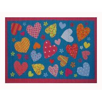 3 x 5 Small Hearts Pattern Turquoise Blue Rug - Fun Time