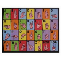 3 x 5 X-Small Sign Language Multi-Color Area Rug - Fun Time