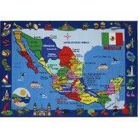 4 x 6 Small Mexico Map Multi-Color Area Rug - Fun Time