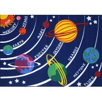 2 x 4 X-Small Solar System Multi-Color Area Rug - Fun Time