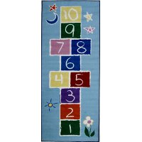 Primary Hopscotch Light Blue 7 Foot Runner Rug - Fun Time