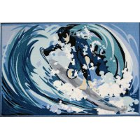 3 x 5 Small Surfing Blue Rug - Fun Time