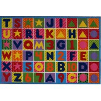 8 x 11 Large Numbers and Letters Multi-Color Area Rug - Fun Time