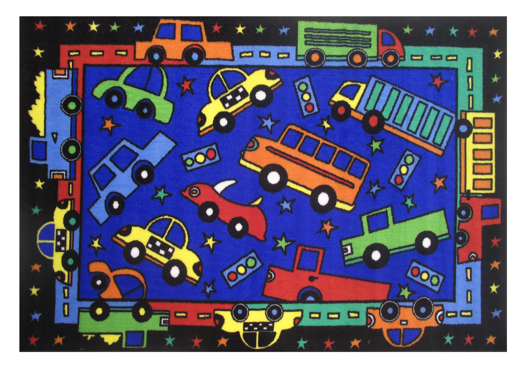 3 x 5 Small Trucks and Cars Multi-Color Area Rug - Fun...