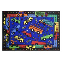 3 x 5 Small Trucks and Cars Multi-Color Area Rug - Fun Time