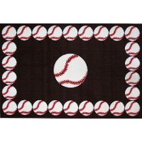 3 x 5 Small Baseball Time Red and White Area Rug - Fun Time