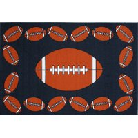 3 x 5 Small Football Time Orange and Blue Rug - Fun Time